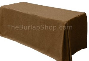 "24""W x 48""L x 29""H Poly Faux Burlap Fitted Tablecloth"
