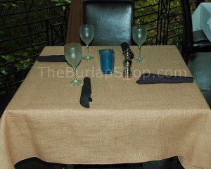 "45"" x 45"" Square Jute Burlap Tablecloth"