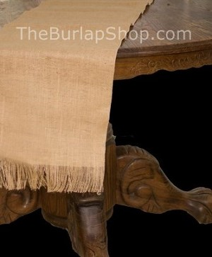 "13"" x 120"" Jute Burlap Table Runner with Fringe"
